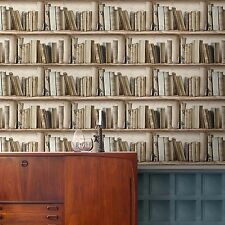 Splendour Neutral Bookcase Wallpaper Paste the Wall Vinyl Bookshelf SD3533