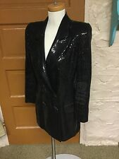 St John Evening by Marie Gray Black Sequin Coat Jacket Blazer Long Size 8
