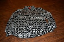 G9- Missoni for Target Black & Ivory Zigzag Long Sleeve Button Down Shirt Size S