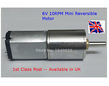 REVERSIBILE 6V-motore CC 10 RPM-Ad Alta Coppia GEAR BOX-disponibile in UK