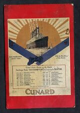 Dated 1993 Illustrated Card Issued by Cunard - R.M.S Mauretania Sailing Times