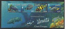 WWF WORLD WILDLIFE FUND VANUATU 2006 GROUPER Fish Marine Life STRIP of 4 MNH