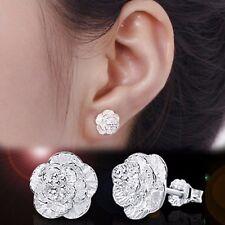 New Fashion Women Jewelry 925 Sterling Silver Flower Stud Earrings Nice Gift Hot