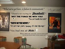 Movie Quotes wall lettering  decals for theater room  art decor murals cinema