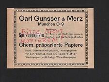 MÜNCHEN, Werbung 1921, Carl Gunsser & Merz Chem. präparierte Papiere