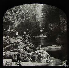 Glass Magic Lantern Slide EDWARDIANS AT FAIRY GLEN C1910 WALES