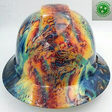Hard Hat FULL BRIM custom hydro dipped , OSHA approved TYE DYE SWIRL OIL SLICK