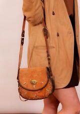 Vintage tan suede leather studded saddle bag / shoulder bag MYRNA