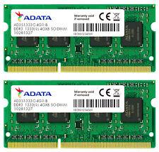 8GB AData DDR3 PC3-10666 CL9 204-pin Dual Channel laptop memory kit (2x4GB)