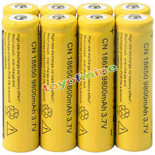 8x 3.7V 18650 9800mAh Li-ion Rechargeable Battery For Flashlight Torch