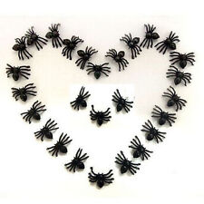 Hot 100PCS Plastic Spiders Small Black Halloween Party DIY Decoration Prop Prank