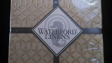 """Waterford Trista Table Cloth Geometric Gold Ivory 70"""" x 104"""" Oblong"""