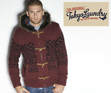 Tokyo Laundry Mens Size Small Faux Fur Knit Aubergine Jacket Coat