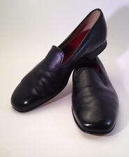 Men's Hand Made Black Leather Loafers Slip Ons Size 9 Made in England
