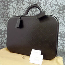 Rise-on LOUIS VUITTON MONOGRAM Calf Black Leather Glace Valisette MM Case bag #1