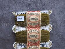 R368 Mercerie 3 bobine carte fil LAINE SAINT PIERRE repriser marron + bande LYON