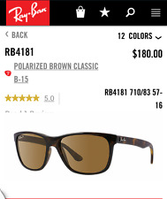New Ray-Ban RB4181  710/83 57-16 Polarized Brown Classic | MSRP $180