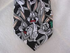 "Looney Tunes Mania Bugs Bunny Neck Tie Cartoon Face Studies 58"" long 4"" wide"