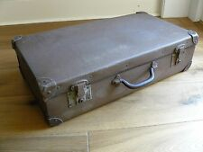 Vintage Retro 1930/40 Brown Leather Covered Hard Cardboard Suitcase