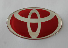 TOYOTA Sticker / Autocollant-chrome sur ROUGE 60mm x 38mm brillant finition gel en forme de dôme