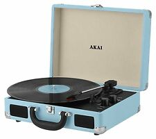 Akai A60011NB Retro Style 3-Speed Portable Rechargeable Turntable record player