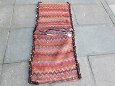 Old Hand Made Persian Oriental wool Red Colourful Tribal Saddle Bag 153x68cm