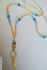 GOLD ID Badge Holder HANDMADE Blue Crystals, Beaded Lanyard Fashion Necklace