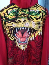 Ed Hardy Christian Audigier Mens Jacket Sz XL Hoodie Tiger Print Red Long Sleeve