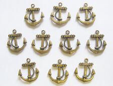 10 Metal Antique Bronze Colour Anchor Charms - 23mm