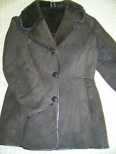 100% SHEEPSKIN SHEARLING GENUINE SUEDE LEATHER COAT  BROWN  SIZE L HARDLY WORN