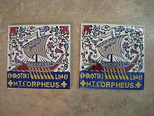 Rhodes Greece ICAROS Ceramic Art Tile EPIROTIKI Handpainted ORPHEUS SHIP VTG