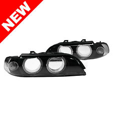 97-00 BMW E39 5-SERIES REPLACEMENT HEADLIGHT LENSES W/ UHP LED ANGEL EYE RINGS
