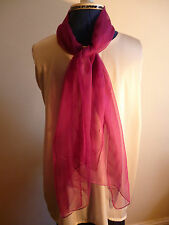 100% silk long floaty chiffon scarf. Puce or dark pinky red  NEW