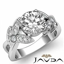 1.8ct Round Pave Diamond Engagement Flower Style Ring GIA F VS1 14k White Gold