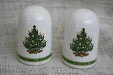 "Set 3"" Ceramic Christmas Tree Holiday Salt & Pepper Shakers S & P"