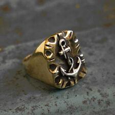 Mexican Biker Ring Skull silver Vintage brass anchor Navy world war sailor men
