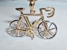 14K GOLD 3D MOVEABLE TEN SPEED BICYCLE BIKE PENDANT CHARM