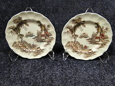TWO Johnson Brothers The Old Mill Bread Plates 6 3/8 ""