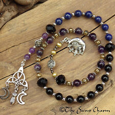 Triple Moon Goddess Witches Ladder -Spell Beads -Meditation Rosary Wiccan Pagan