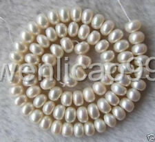 """AAA 6-8MM White freshwater Cultured Pearl Roundel Beads 15"""""""