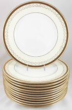 FULL SET 12 DINNER PLATES ROYAL DOULTON E4954 RAISED GOLD ENCRUSTED CREAM WHITE
