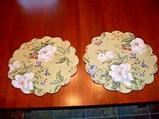 NEW SET OF 2 QUILTED COTTON SAGE FLORAL TUSCAN REVERSIBLE ROUND PLACEMAT LOT~