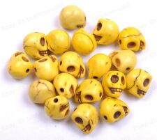 20pcs Yellow Turquoise Carved Skull Spacer Loose Beads Charms 10X8MM