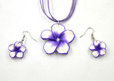 Wholesale 1Set Purple Polymer Clay FIMO Flower Silk Chain Necklace+Earrings