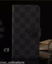 iPhone 6 Plus iPhone 6S Plus Classic Grid PU Leather Wallet Cover Case - Black