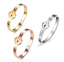 Love Heart Couple Stainless Steel Lock Bracelet Bangle Key Pendant Necklace Set