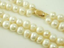 "Pearl necklace double row 23"" long baroque cultured pearl 9 carat gold clasp"