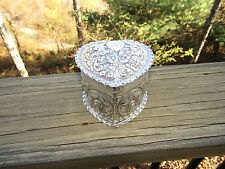 American Large Sterling Silver Repousse Heart Box 1890