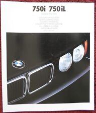 BMW 750i & 750iL 1989 1990 grandi mercati dell' euro Colori & Tappezzeria opuscolo