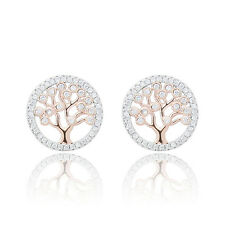 925 Sterling Silver Tree Of Life Stud Earrings 18ct Rose Gold White CZ Charm